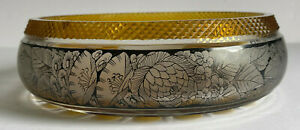"""Bohemian Moser Cut Glass Amber Clear Fruit Bowl BLACK Floral Etched Band 8.5"""""""