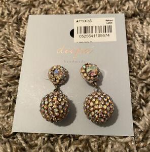 NEW Deepa Crystal Ball Drop Earrings FREE Shipping