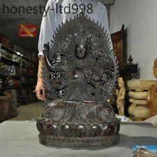 Old Tibetan Buddhism purple bronze Tara Kwan-yin Guanyin Goddess Buddha Statue