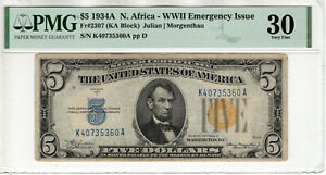 1934 A $5 SILVER CERTIFICATE NOTE NORTH AFRICA FR.2307 KA BLOCK PMG VF 30(360A)