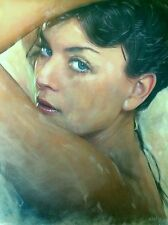 "WILLIAM OXER ORIGINAL CANVAS ""Looking Into Her Eyes"" Woman Girl PAINTING"