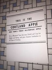 Cortland Apple Old Vintage Grocery Store Supermarket Sign Advertising Poster NY