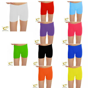 Girls Microfiber Hot Pant Ladies Neon Colours Stretchy Dance Party Shorts Pants