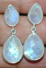 925 Sterling SILVER Moonstone Stud Earrings Natural Gemstone Tear Drop Cut stone