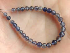 Natural Blue Water Sapphire Iolite Faceted Round Gemstone Beads (30PCS)