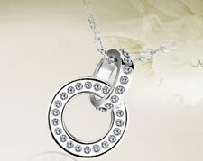 DOUBLE RING NECKLACE SPARKLING CRYSTAL FOREVER TOGETHER BEST GIFT NECKLACE  17