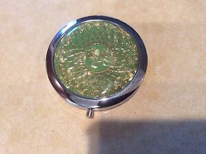 Gold Face Design - Green Round Double-sided -  Makeup Compact Mirror - Magnifing