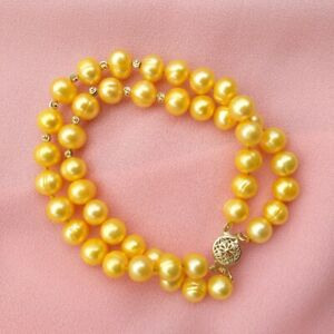 "Double Strands 7.5-8""  Noble 8-9MM South Sea Gold Pearl Bracelet 14k Gold P"