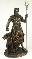 HADES Standing With CERBERUS Greek Mythology Underworld God Statue Bronze Color