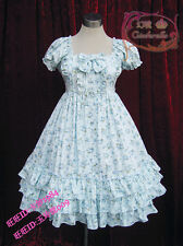 Cosplay Sweet Love Lolita Cute Dress with Flora Print (Light blue)