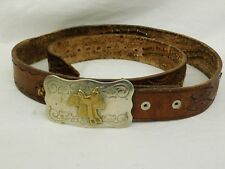 Chambers Belt Co Saddle Buckle & Leather Belt Mexico Hand Tooled Seagulls Silver