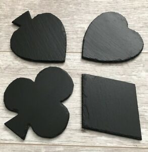 Natural Slate Suit Coasters Cards Casino Poker Hearts Spades Clubs Diamonds