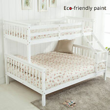 White Triple Sleeper Pine Wood Bunk Bed Frame Sturdy for Adult kids Children