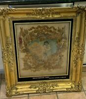 1800s ANTIQUE SILK NY ELVIRA LYNCH AYMAR SHEPHERD BOY VAN BUREN GOLD GESSO FRAME