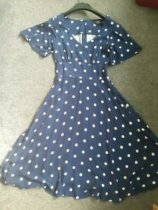 Navy and white polka dot Swing Dress 50's jive size 12. Dolly and Dotty