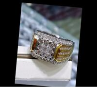 Real 10k White Yellow Solid Gold Men's Wedding Band Ring Round Cut 2 Ct Diamond