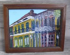 Oil Painting New Orleans Old Quarter Porches Signed Lee Architecture Prof Framed