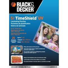 "New Black & Decker TimeShield 4"" x 6"" Photo Size Laminating Pouches 25 pk"