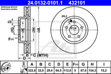 2x Bremsscheibe für Bremsanlage Vorderachse ATE 24.0132-0101.1