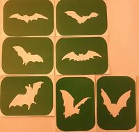 Pack of 7 BAT Vinyl Tattoo  Body Art Stencils Glitter-Airbrush Air Brush Art