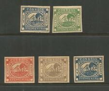 BUENOS AIRES 1859  STEAMBOAT    5  VALUES   UNUSED     REPRINTS / FORGERIES