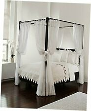 Canopy Set with Top Ties and Tie Backs, Sheer, for White Bed Canopy Panel Set