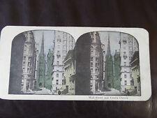 "c.1900 3d COLOUR STEREOGRAPH/ STEREOGRAM PHOTO CARD ""Wall Street & Trinity.. """