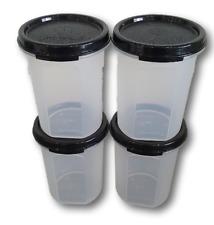 Tupperware 4 Pcs Modular Mates Round II 400ml Black Snack Container Airtight
