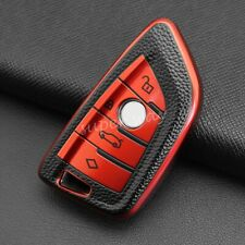 Red Leather Texture Smart Key Fob Case Cover For BMW F45/F46/G20/G21/G30/G31/G32
