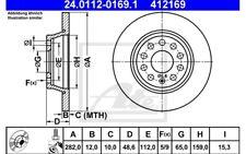 ATE Juego de 2 discos freno Trasero 282mm para SEAT VW BMW 24.0112-0169.1