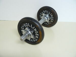 2 VINTAGE BLACK BOLLINGER 5 POUND CAST IRON WEIGHT PLATES & 4 THREADED COLLARS