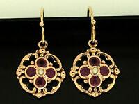E024 Genuine SOLID 9ct Rose Gold NATURAL Ruby & Pearl DROP Earrings Dangles