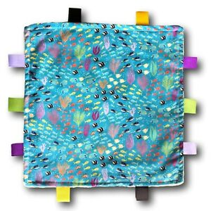 BARRIER REEF Theme Tactile Baby Security Blanket