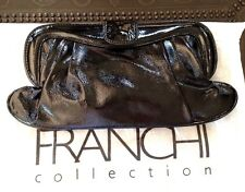 FRANCHI COLLECTION patent black leather clutch cross body purse