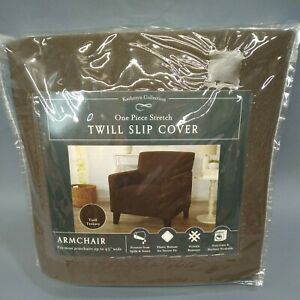 """Katheryn Collection Twill Chair Slip Cover Fits up to 43"""" armchair stretch brown"""