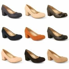 Faux Suede Upper Court Shoes Block Casual Heels for Women