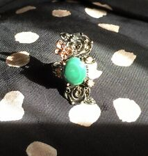 Awesome Malachite 925 Sterling Silver Rose Butterfly Ring Size 7.25 #eBayMarket