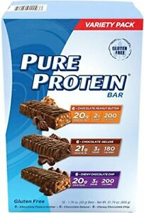 PURE PROTEIN HIGH PROTEIN BAR VARIETY PACK 1.76-OUNCE BAR PACK OF 18, INCLUDES