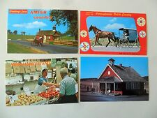 Amish Country Carriage Schoolhouse Market Stand 1960s 4 Postcards Unused