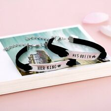 Matching Set His Queen Her King Anniversary Gift Stainless Steel Couple Bracelet
