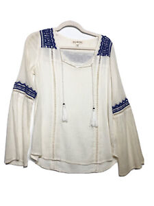 Billabong Cream Blue Lace Embroidered Peasant Blouse Size Small S Boho Tassels