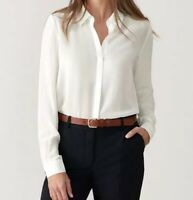 Relaxed Washed Silk Blouse - Botanical Leaf - Pure Collection RRP£120 {N81}