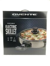 """Ovente Portable Electric Skillet w/Tempered Glass Cover 12"""" Capacity NIB"""