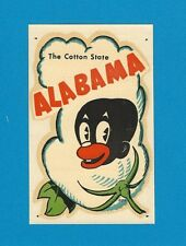 "VINTAGE ORIGINAL 1951 SOUVENIR ""THE COTTON STATE"" ALABAMA TRAVEL WATER DECAL ART"