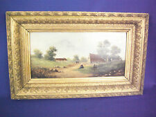19c. French School Oil On Board Country Site with Farm Houses & Figures
