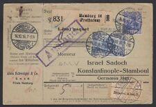 TURKEY, 1916. Parcel Card Mi 87, 95, Hamburg - Istanbul