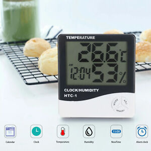Digital LCD Thermometer Humidity Meter Hygrometer Indoor Temperature Clock Stand