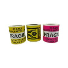 Bright Pink & Yellow Fragile Handle with Love Shipping stickers Bundle Deal
