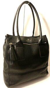 Kate Spade New York Genuine Leather Tote Office Shoulder Purse Bag Tassel Charm