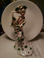 Lefton 1956 Porcelain White and Green Oriental Dancer Holding Fan ~ Super Nice